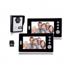 7 Inch Wireless Video Door Phone w/ 1 Night Vision Camera + 2 Monitors - Black