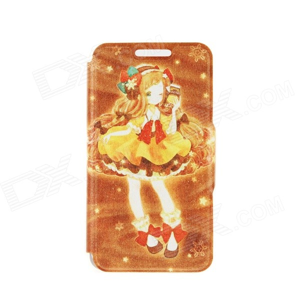 Kinston Cute Girl Pattern PU + Plastic Case w/ Stand + Card Slot for IPhone 6 4.7 - Brown + Yellow kinston kst92535 silk pattern pu plastic case w stand for iphone 6 plus white