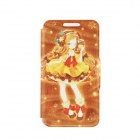 "Kinston Cute Girl Pattern PU + Plastic Case w/ Stand + Card Slot for IPhone 6 4.7"" - Brown + Yellow"