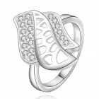 Women's Fashionable Rhinestone-studded Crystal Ring - Silver