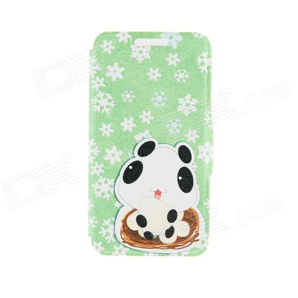 Kinston Lovely Patterned PU + Plastic Case w/ Stand + Card Slot for IPhone 6 4.7 - Green + White kinston flowers
