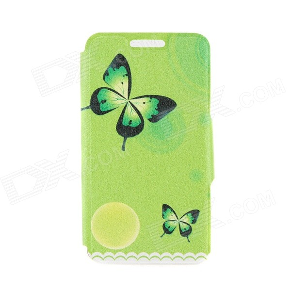 Kinston Butterflies Patterned PU + Plastic Case Cover w/ Stand + Card Slot for IPhone 6 4.7 - Green kinston kst91875 three butterflies w rhinestones pattern pu case w stand for iphone 6 multicolor