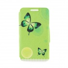 "Kinston Butterflies Patterned PU + Plastic Case Cover w/ Stand + Card Slot for IPhone 6 4.7"" - Green"