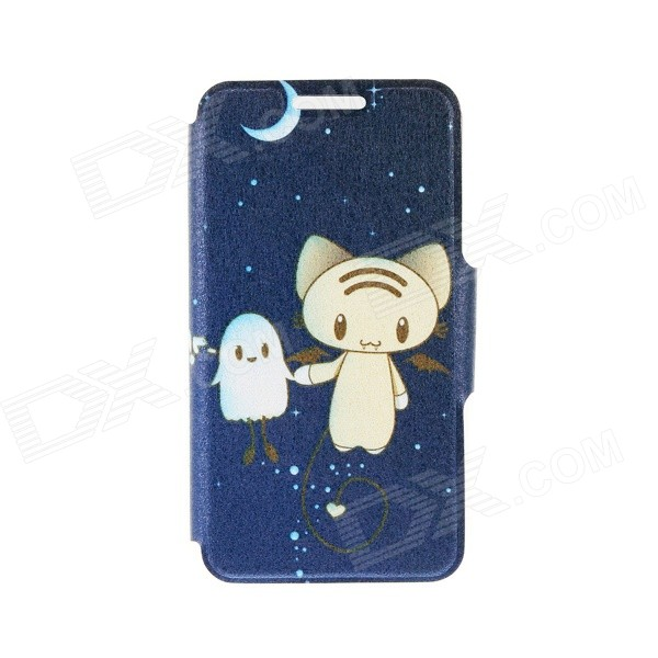 Kinston Night Elves Pattern PU + Plastic Case w/ Stand + Card Slot for IPhone 6 4.7 - Dark Blue kinston kst92535 silk pattern pu plastic case w stand for iphone 6 plus white