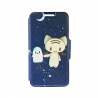 "Kinston Night Elves Pattern PU + Plastic Case w/ Stand + Card Slot for IPhone 6 4.7"" - Dark Blue"