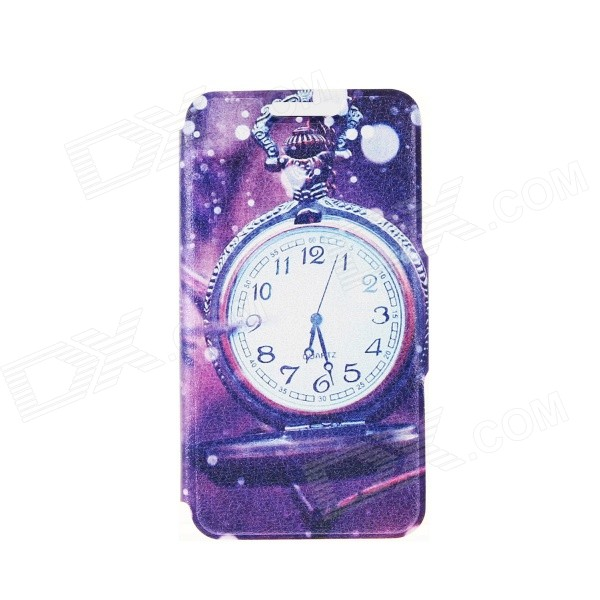 Kinston Pocket Watch Patterned PU + Plastic Case w/ Stand + Card Slot for IPhone 6 4.7 - Purple kinston flowers on branch pattern pu plastic case w stand for iphone 6 plus white purple