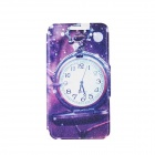 "Kinston Pocket Watch Patterned PU + Plastic Case w/ Stand + Card Slot for IPhone 6 4.7"" - Purple"