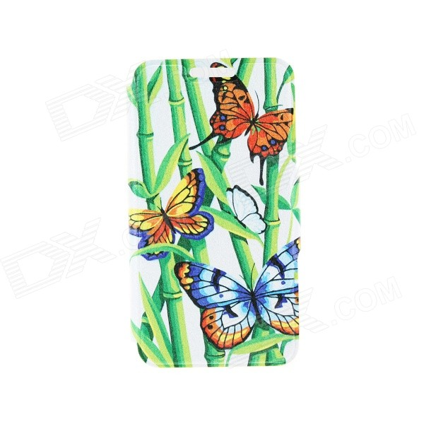 Kinston Bamboo & Butterfly Pattern PU Leather Full Body Case w/ Stand for IPHONE 6 4.7 - Green