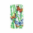 "Kinston Bamboo & Butterfly Pattern PU Leather Full Body Case w/ Stand for IPHONE 6 4.7"" - Green"