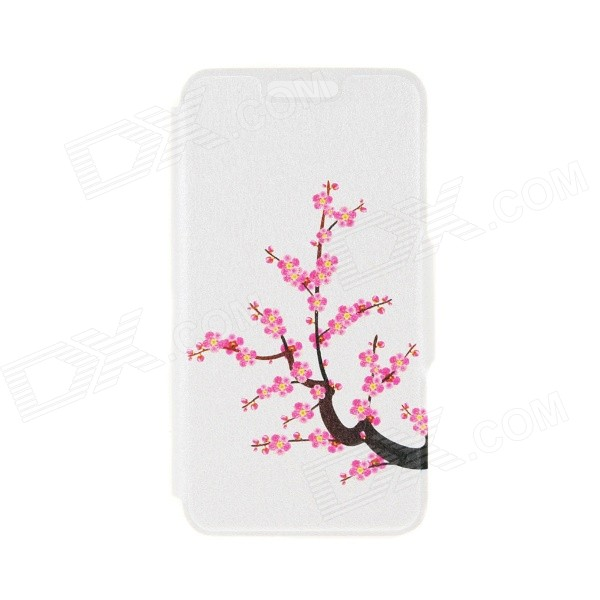 Kinston Plum Blossom Pattern PU Leather Full Body Case with Stand for IPHONE 6 4.7 - White + Pink