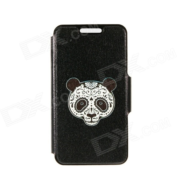 Kinston Panda Face Patterned PU + Plastic Case Cover w/ Stand + Card Slot for IPhone 6 4.7 - Black tpu imd patterned gel cover for iphone 7 4 7 inch dream catcher