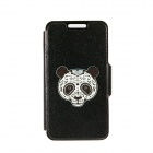 "Kinston Panda Face Patterned PU + Plastic Case Cover w/ Stand + Card Slot for IPhone 6 4.7"" - Black"