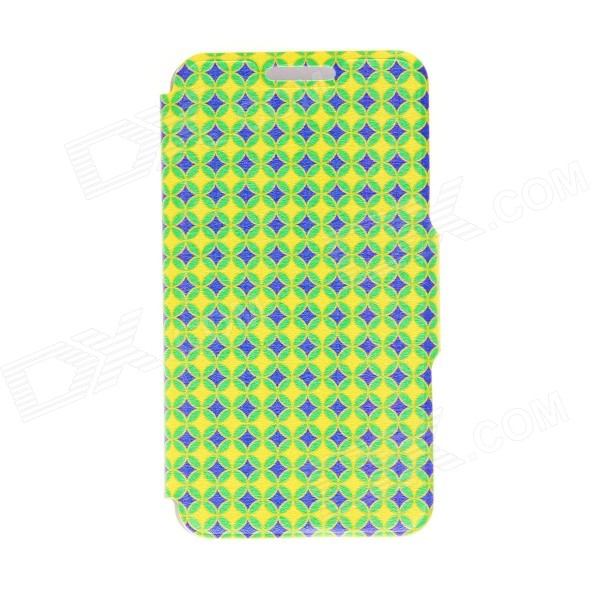Kinston Diamond Patterned PU Leather Full Body Case w/ Stand for 4.7 IPHONE 6 - Green + Yellow kinston the seal in water pattern pu leather full body case cover stand for iphone 6 plus yellow