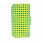 "Kinston Diamond Patterned PU Leather Full Body Case w/ Stand for 4.7"" IPHONE 6 - Green + Yellow"