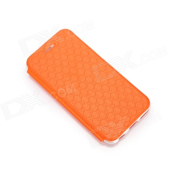 Snow Protective PU Leather Flip Case w/ Stand for IPHONE 6 4.7 - Orange roar korea noble leather stand view window case for iphone 7 4 7 inch orange