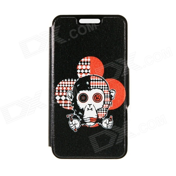 Kinston Monkey's Head Pattern PU Leather Full Body Case with Stand for IPHONE 6 4.7 - Black kinston flowers