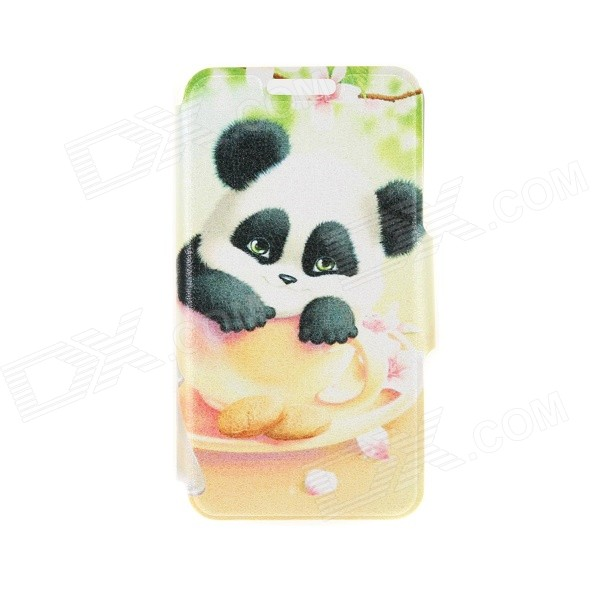Kinston Cup Panda Pattern PU Leather Full Body Case w/ Stand for 4.7 IPHONE 6 - White + Black