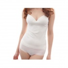 KG-02 Modal Cotton Stretch Wireless Camisole Vest w/ Built-in Bra - White (M)