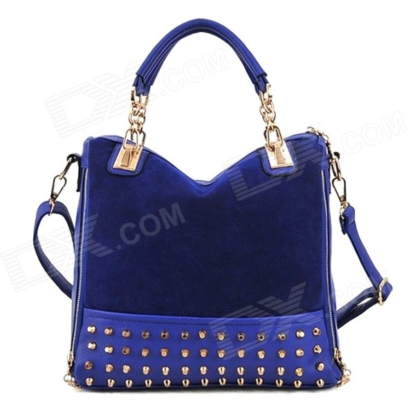Mode en cuir Nubuck + PU + Rivet Sac à main Messenger Simple Shoulder Bag - Deep Blue