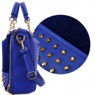 Fashionable Nubuck + PU Leather + Rivet Hand Bag Messenger Single Shoulder Bag - Deep Blue
