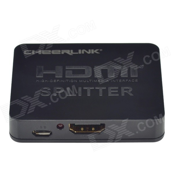 CHEERLINK 1-in 2-out plně 3D mini HDMI 1.4a splitter - černá