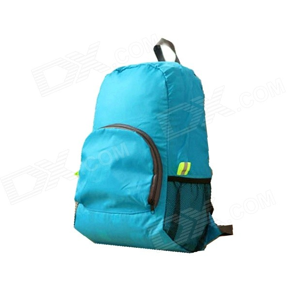 Foldable Nylon Travel Backpack Knapsack - Blue