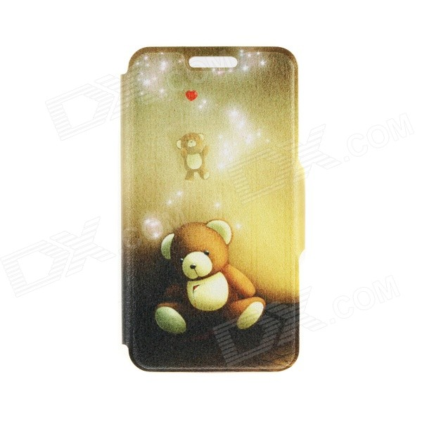 "Kinston Bear Doll Pattern PU Leather Flip Open Case w/ Stand for IPHONE 6 4.7"" - White + Yellow"