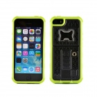 Multifunction Silicone Back Case w/ Stand + Opener + Lighter for IPHONE 5S - Black + Green