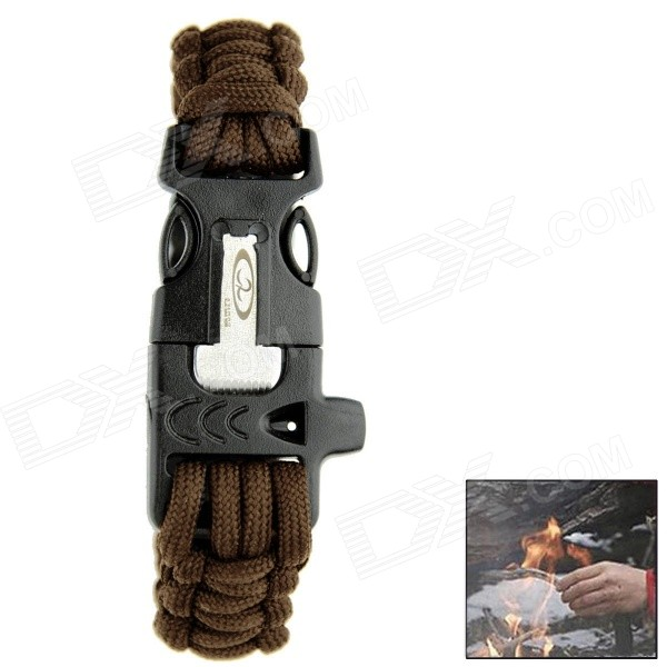 цены  OUMILY Outdoor Paracord Survival Bracelet w/ Flint Fire Starter Scraper + Whistle Gear Kit - Coffee