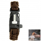 OUMILY Outdoor Paracord Survival Bracelet w/ Flint Fire Starter Scraper + Whistle Gear Kit - Coffee