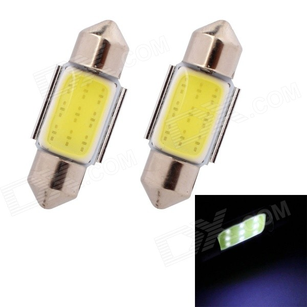 MZ Festoon 31mm 2W 80lm COB LED White Car Reading / License Plate / Roof Lamps (12V / 2 PCS)