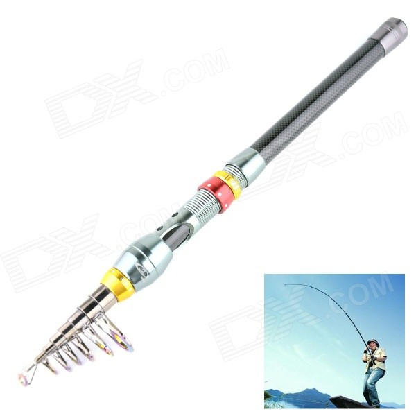 OUMILY Portable 7-Section Carbon Fishing Rod Pole - Dark Grey + Red + Golden (2.7m)