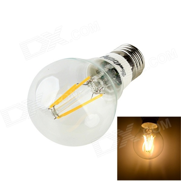 YouOKLight JL03 E27 4W 300lm 3000K Warm White 4-LED Filament Bulb - Transparent + White (AC85~265V)
