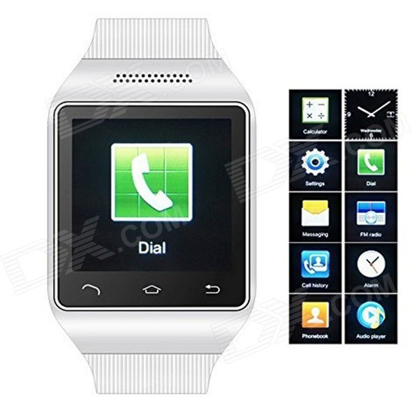 S18 GSM Watch Phone w/ 1.5 Screen, Quad Band, Bluetooth and FM - White s18 gsm watch phone w 1 5 screen quad band bluetooth and fm black