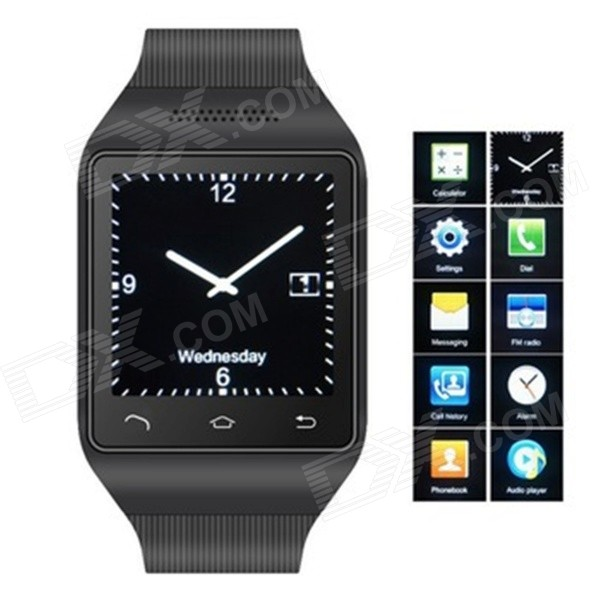 S18 GSM Watch Phone w/ 1.5 Screen, Quad-band, Bluetooth and FM - Black s18 gsm watch phone w 1 5 screen quad band bluetooth and fm black