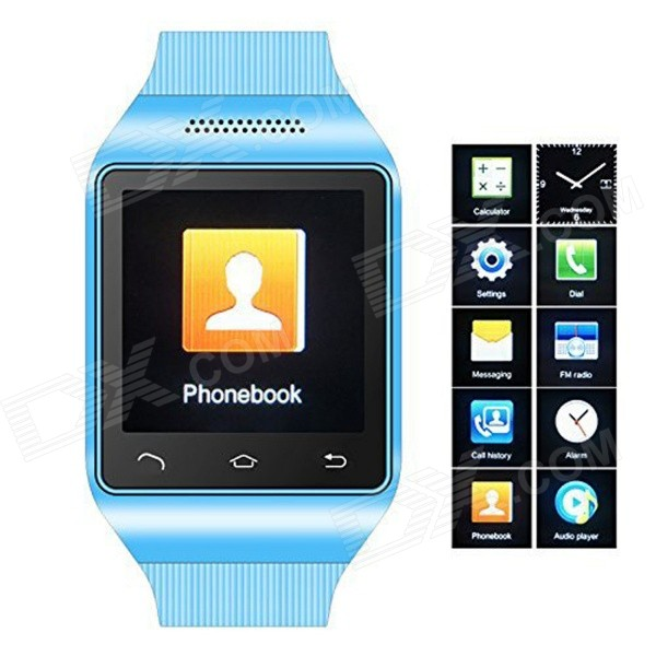 S18 GSM Watch Phone w/ 1.5 Screen, Quad-band, Bluetooth V3.0 and FM - Blue s18 gsm watch phone w 1 5 screen quad band bluetooth and fm black