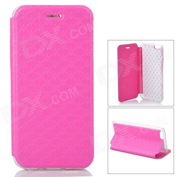 Snow Protective PU Leather Flip-open Case w/ Stand for IPHONE 6 - Deep Pink protective pu leather flip open case w stand for iphone 6 plus black