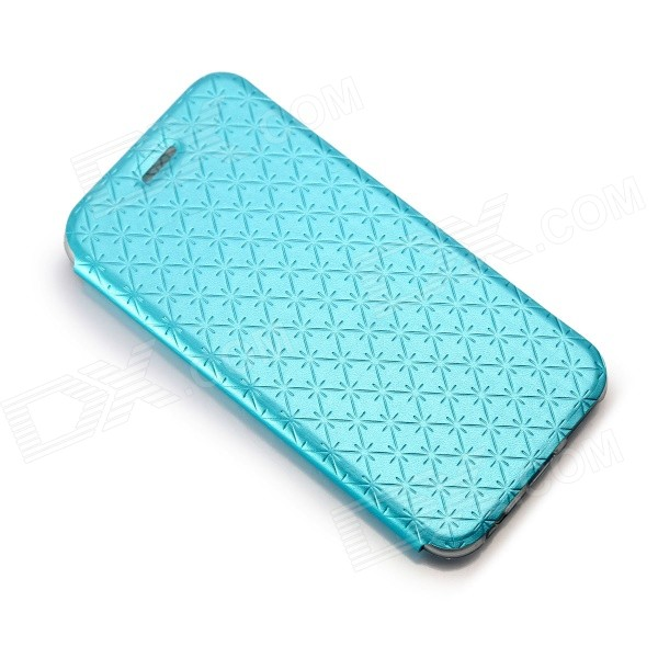 Snow Protective PU Leather Flip-open Case w/ Stand for IPHONE 6 - Blue protective pu leather flip open case w stand for iphone 6 plus black
