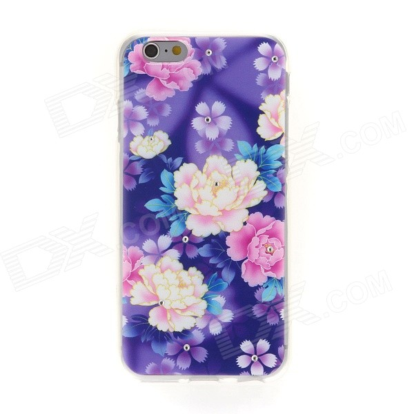 Kinston Color Floral Leaf Rhinestone Pattern TPU Soft Case for IPHONE 6 4.7 shengo electroplated tpu phone cover for iphone 7 plus rhinestone decoration water drop pattern rose gold edge