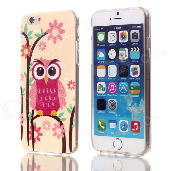 Gold Shimmering Owl Patterned Protective TPU Back Case Cover for IPHONE 6 4.7 - Orange + Pink cute owl pattern tpu back case for iphone 6 plus 5 5 yellow orange multi color