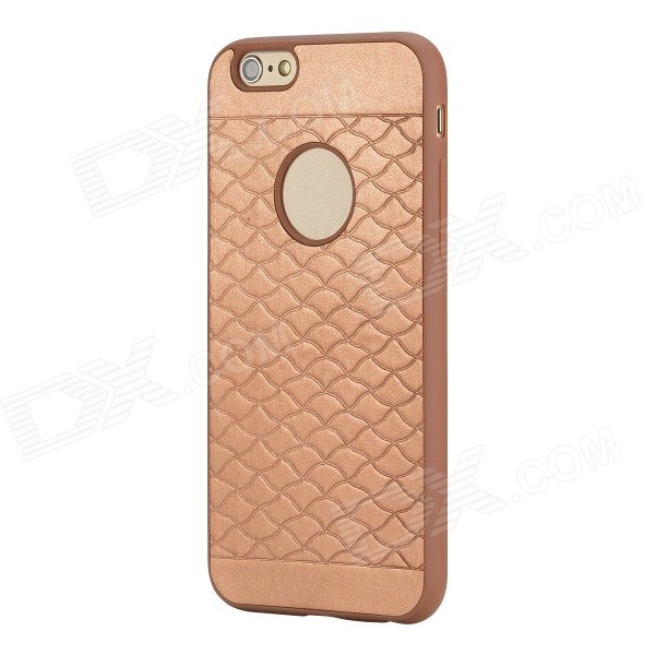 ROCK Pattern Series Protective TPU + PU Leather Back Case for IPHONE 6 4.7 - Champagne Gold wuw flavor a series for iphone 7 plus carbon fiber leather skin tpu pc hybrid back case gold