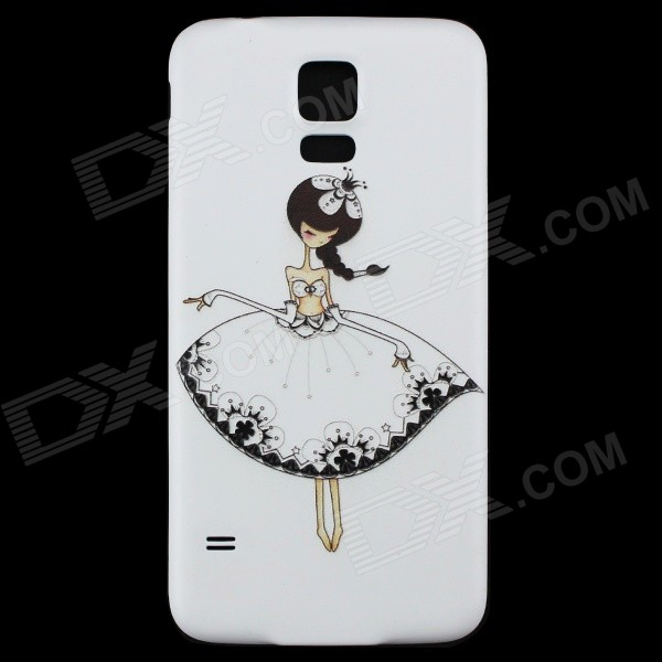 Dancing Girl Patterned Protective PC Battery Back Case for Samsung Galaxy S5 - White + Black 2015 wholesale back to heaven demon college dxd leah redrawing wire pole dancing editions of hand box