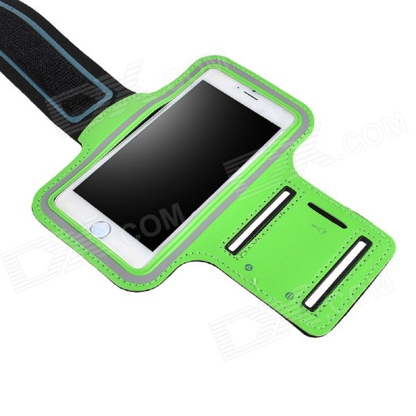 IPB-i601 Outdoor Sports PU Leather + Elastic Fiber Armband for IPHONE 6 4.7 - Black + Green