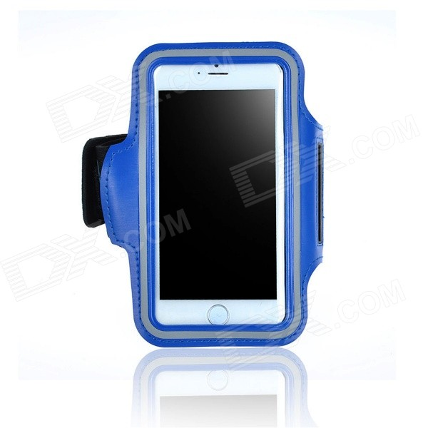Outdoor Sports Armband for IPHONE 6 4.7 - Blue zippered sports armband bag pouch for iphone 4 dark blue