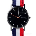 Unisex Stylish Colorful Canvas Band Analog Quartz Wrist Watch - Black + White + Red (1 x 377)