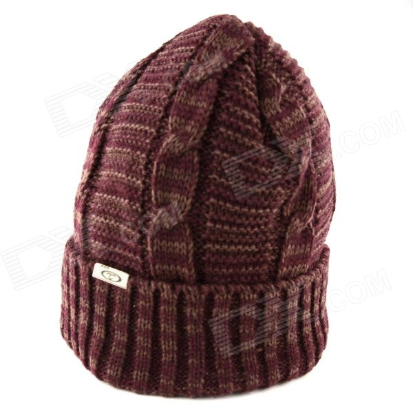 OUMILY Men's Outdoor Casual Warm Keeping Woolen Yarn Hat Cap - Purplish Red