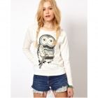 Women's Casual Owl Patterned Long Sleeves Cotton Fleeces Top - White ( L )