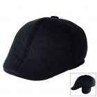 Unisex Fashionable Autumn Winter Peak Cap Hat w/ Warm Earflaps - Black