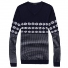 Men's Simple Classic Fashionable Jacquard Sweater - Navy Blue + White (L)