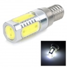 E14 6W 500lm 7000K 5-COB LED Cool White Lamp - White + Silver (85~265V)